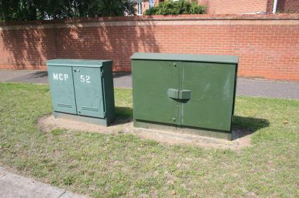 BT Openreach FTTC cabinet next to a normal street cabinet