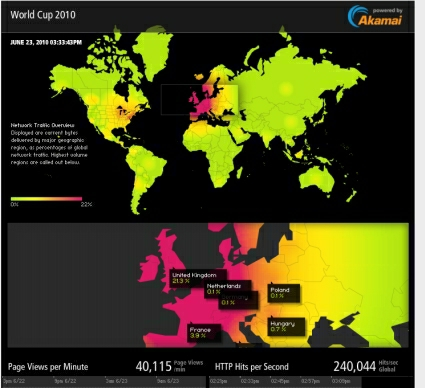 Global Akamai network hotspot map during the world cup match between England and Slovenia