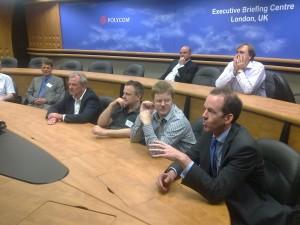 ITSPA members talking during Polycom telepresence demo