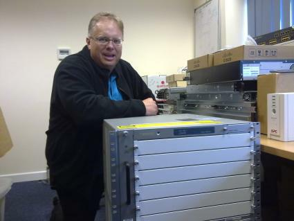 Trefor Davies and new toy - Cisco 7606 chassis