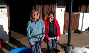Paula Watson with friend Sibhan in front of their stables. The Watsons we re one of the first villagers to get 100Mbps superfast broadband in the UK