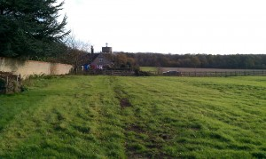 View across fields in Ashby - you can just about see where the digger has been to lay the fibre