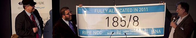 last /8 block handover by Leo Vegoda of IANA to Nigel Titley of RIPE NCC at bringonipv6.com