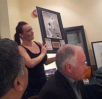 Print of Rod Hogg bowling Geoffrey Boycott auctioned for charity