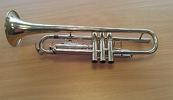 Bb Trumpet on my desk at the Timico offices
