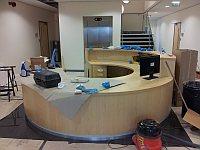 the desk in reception at the Timico data centre in Newark