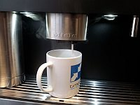 coffee machine dispensing a latte at the new Timico data centre in Newark