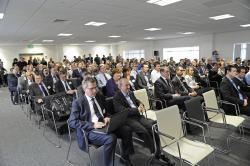 audience focused on panel discussion at Timico datacentre opening