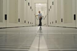 artistic shot inside data hall at new Timico datacentre