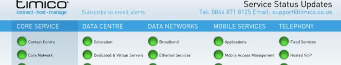 service status reports at Timico