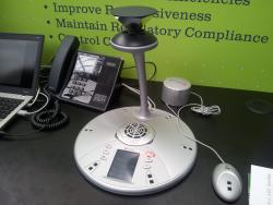 Polycom video conferencing unit on display in Microsoft village at UCExpo