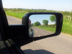 view in rear view mirror on the drive to work - car was stationary in case you were wondering