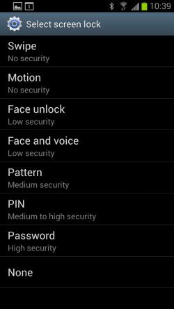GalaxyS3 screen lock security options