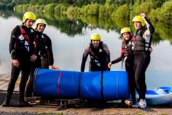 They're smiling now but can you spot the design flaws on this raft?