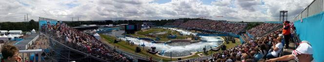 magnificent panoramic view of the kayak slalom venue at Lee Valley
