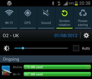 Galaxy S3 battery and wireless data usage