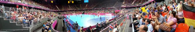 panoramic view of inside the basketball arena set up for handball - note size of the press box