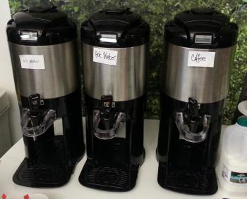 hot water and coffee urns at the Google Campus