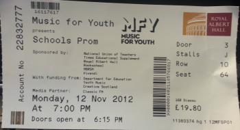 Ticket for Schools Prom at the Albert Hall