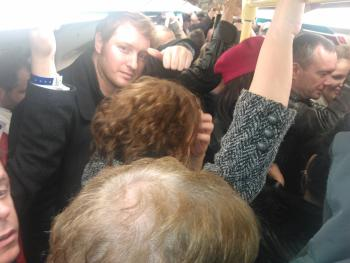 crowded tube - that's Dan Cunliffe of O2 wholesale in shot