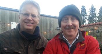 Trefor Davies and Xmas tree farmer William Rose