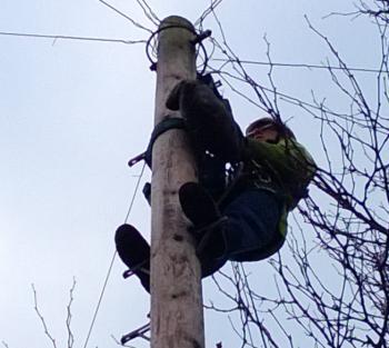 openreach engineer up a pole