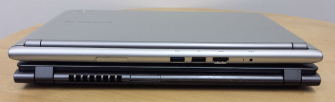 acer samsung chromebook size comparison stacked