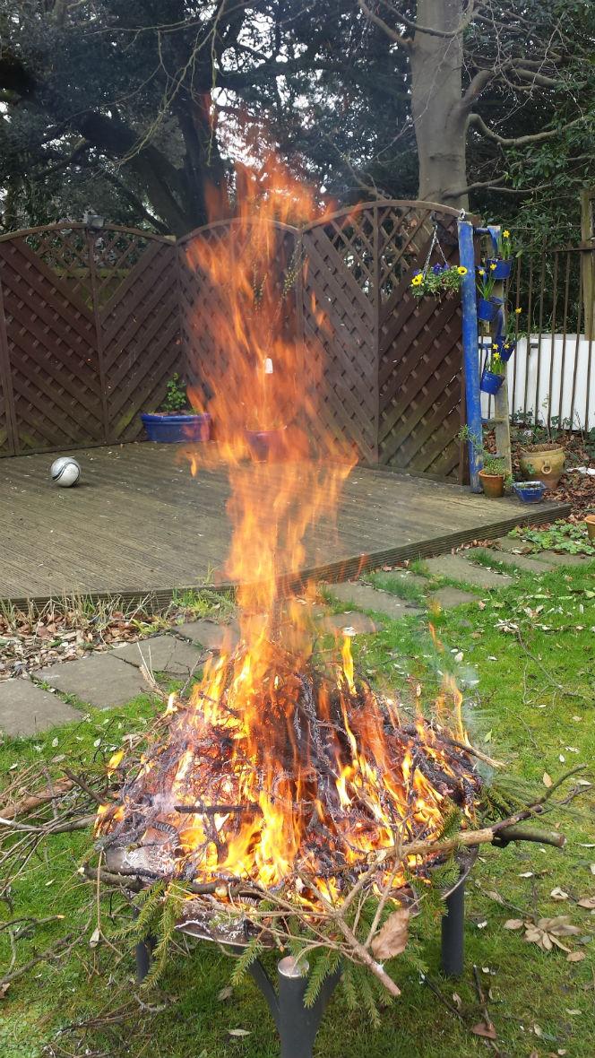 blazing fire in a lincoln back garden