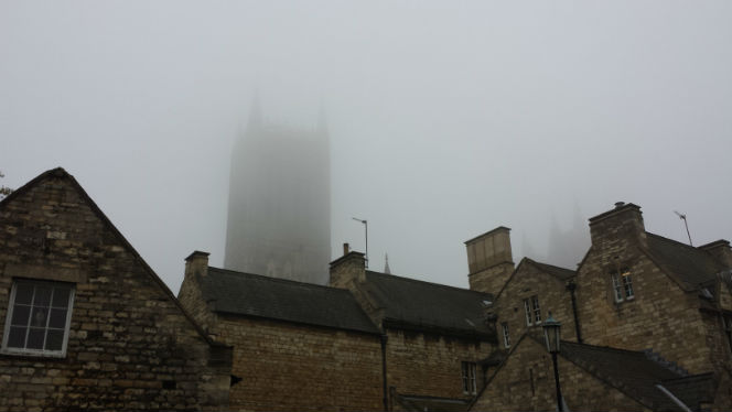 Lincoln Cathedral in the mist from Eastgate