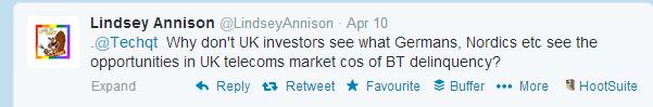 Lindsey Tweet UK Telecoms