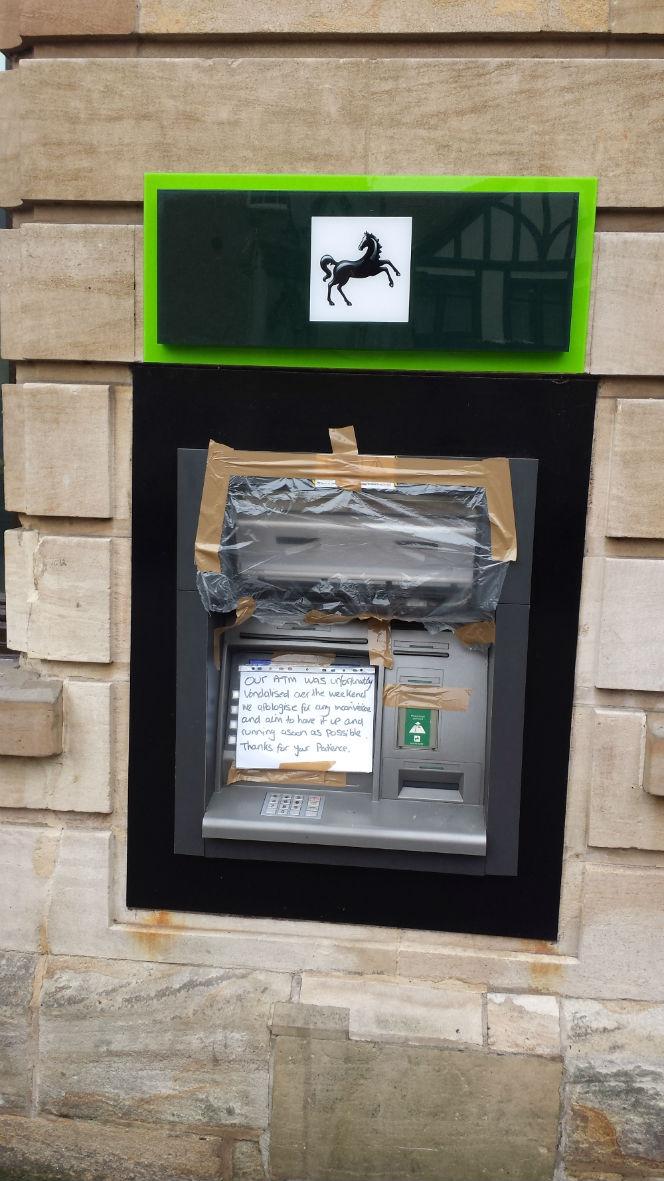 vandalised lloyds bank atm
