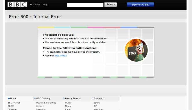 bbc error 500 - bbc website down
