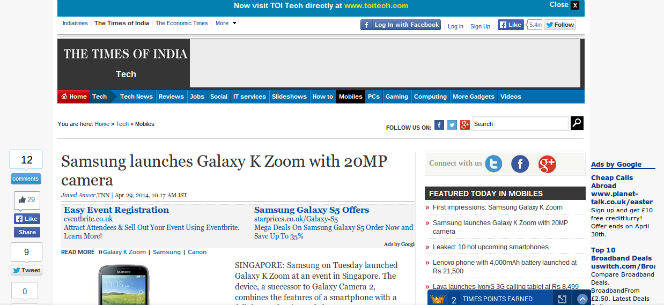 times of india on galaxy k