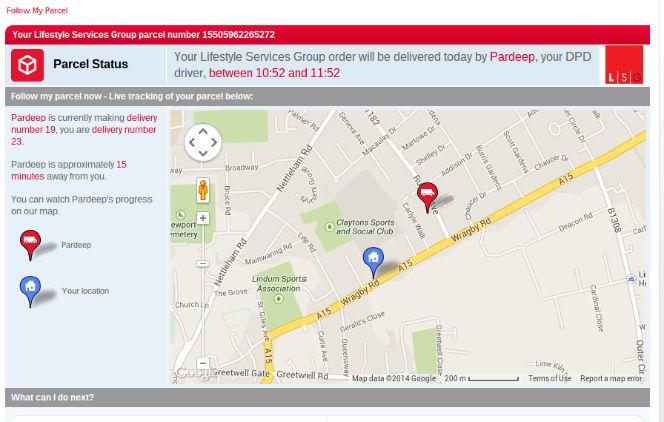 DPD parcel status