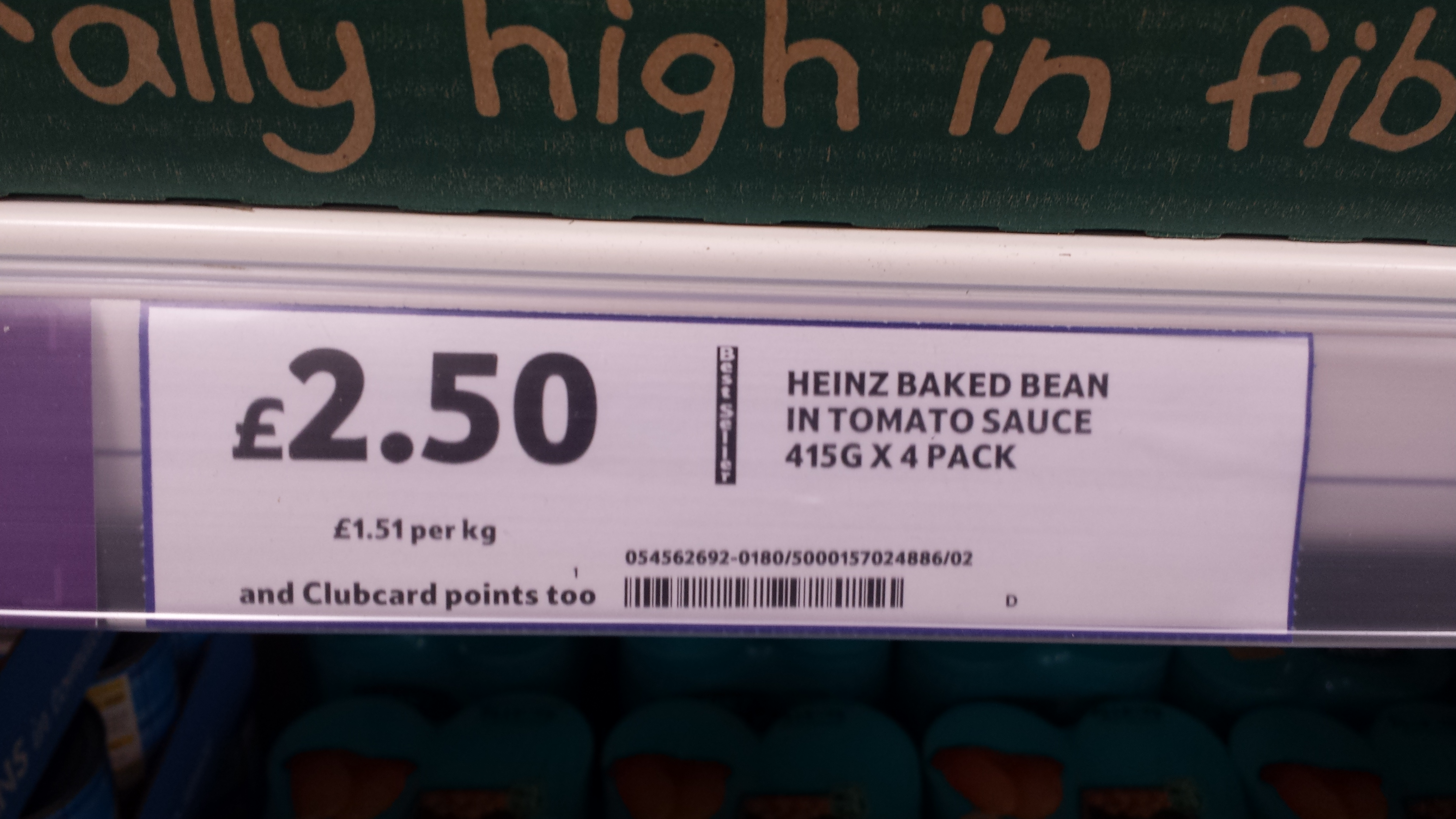 Heinz baked beans 4 pack at Tesco