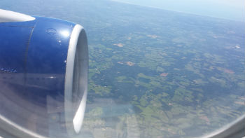 green English countryside viewed from plane