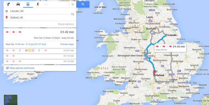 lincoln to oxford by public transport