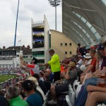 steward trying to confiscate beer snake at Trent Bridge