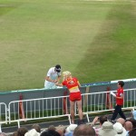 fielder gives Pamela Anderson his autograph at Trent Bridge