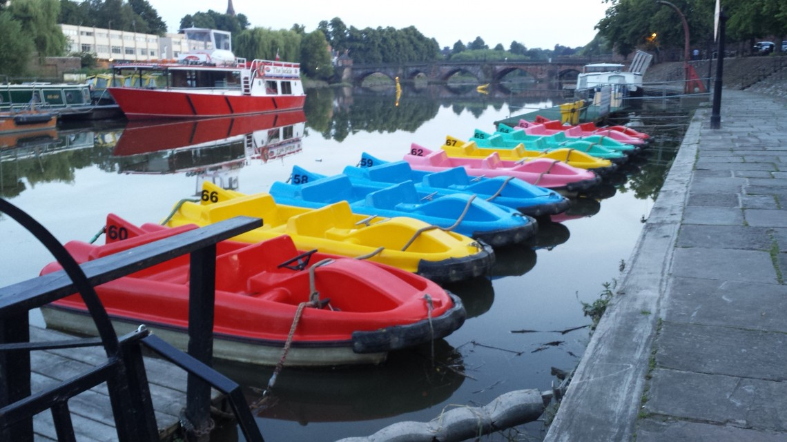 pedaloes on the river in chester