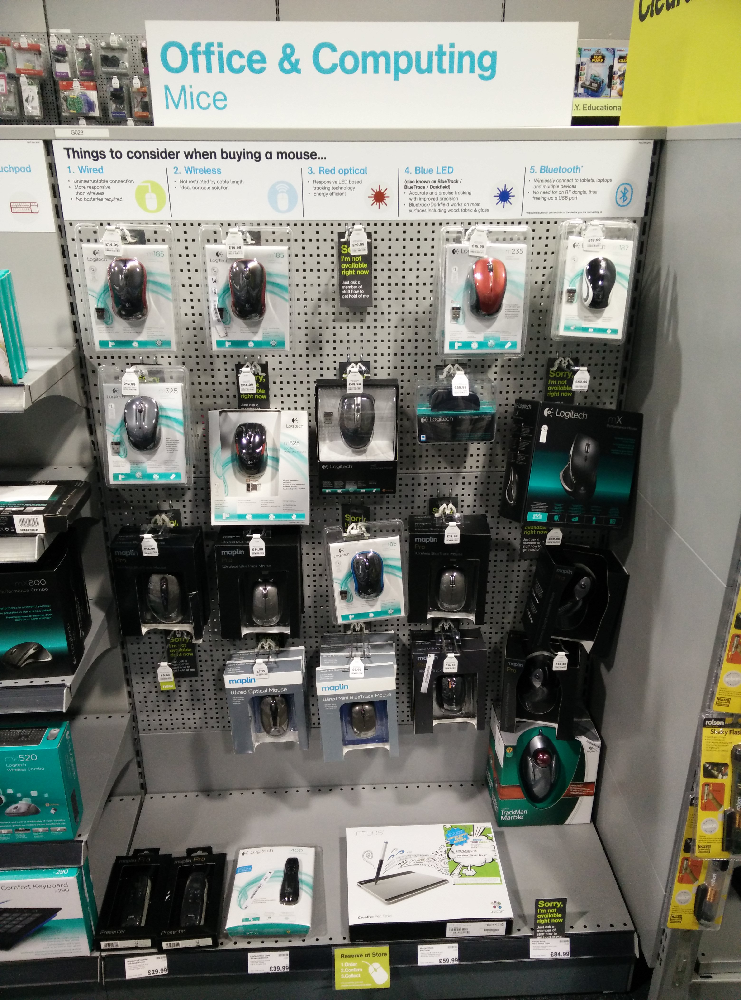 wireless mice on display at Maplin